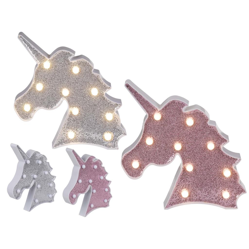 UNICORN GLITTER LED LICHT 2 ASSORTI